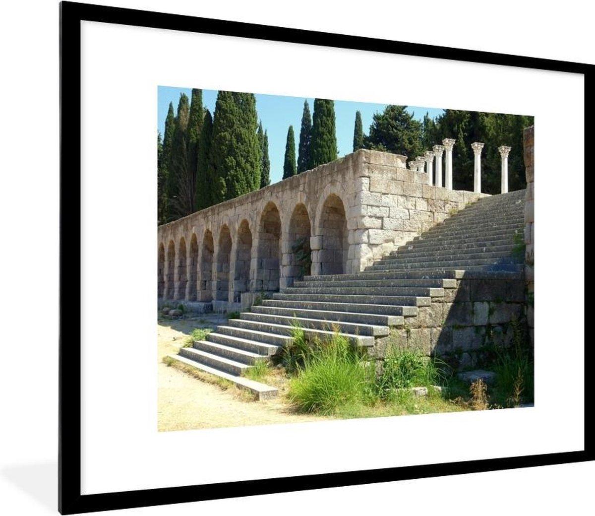 Foto in lijst - Heiligdom van Asklepieion op het eiland Kos fotolijst zwart met witte passe-partout 80x60 cm - Poster in lijst (Wanddecoratie woonkamer / slaapkamer)
