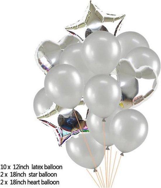 Ballonpakket 14 stuks Folieballonnen en Latexballonnen in Zilver (31251)
