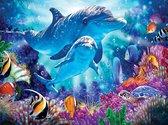 Rubye® Diamond Painting Volwassenen - Diamond Painting Kinderen - Kleurrijke Dolfijnen - 30x40cm
