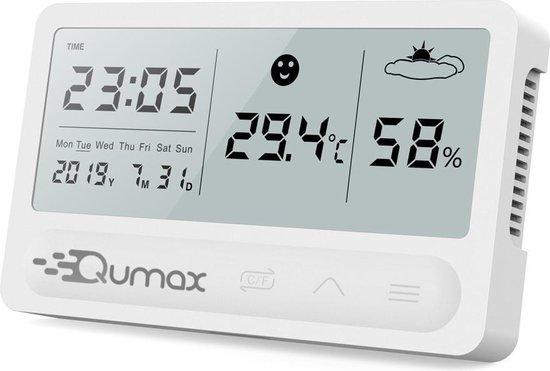 Qumax Digitale Hygrometer - Thermometer voor binnen - Luchtvochtigheidsmeter met halfjaar Accu - Wit
