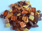 Mozaïek Soft glass puzzels glitter Bruin/Oranje/Goud mix