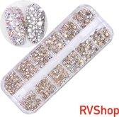 Nagel Decoratie Set - 12 Verschillende Vormen - 3D Glitter Nagel - Nagels - Decoratie - Bling Bling - Zilver - Parelmoer - Gratis Verzending - Nagelset - Nagelstickers - Diamant - Nagel Decoratie - Nail Art