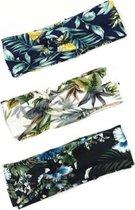 MINIIYOU® Set 3 stuks dames haarbanden tropisch ananas gebloemd - meiden - tieners - vrouwen - volwassenen haarbanden gebloemd | haarband bloemenprint met knoop