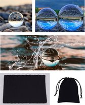 Fotografie glazen bol - 8cm doorsnede + glazen voetje +Velours Buidel +Microvezel Doek  kristallen bol Feng Shui