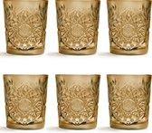 Libbey Drinkglas Hobstar - Oker - 355 ml/ 35,5 cl - 6 stuks - vintage design - vaatwasserbestendig - hoge kwaliteit