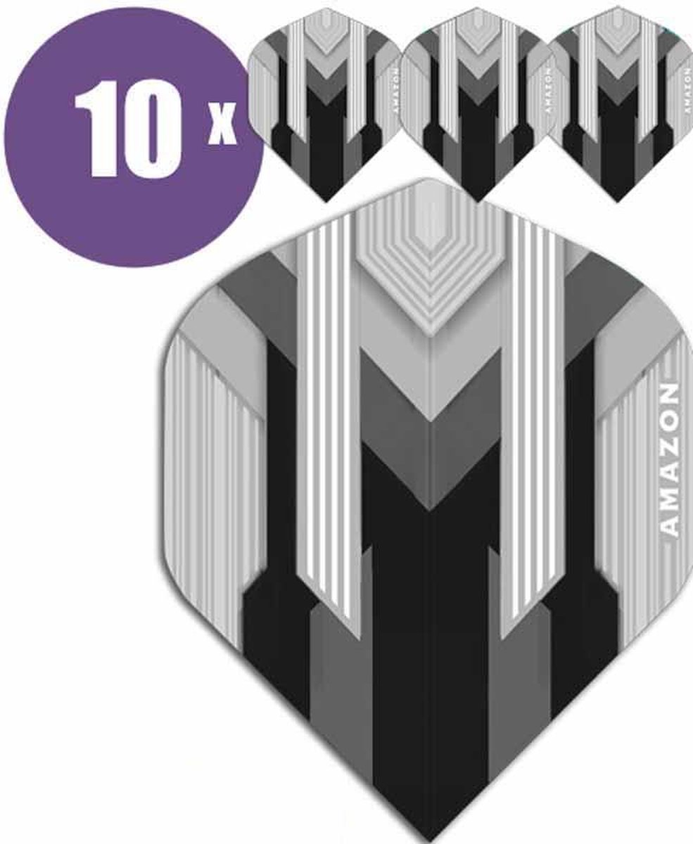 ABC Darts Flights - Amazon silver Zwart - 10 sets (30 st.) Dart Flights