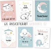 Geboortekaarten - kaartenset - ansichtkaarten - Geboorte - Baby - babyshower 02 - 6 stuks - wenskaarten