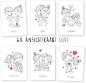 Liefde - kaartenset - ansichtkaarten - love - huwelijk - 6 stuks - wenskaarten