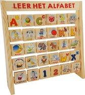 Houten alfabet rek - dubbelzijdige blokjes educatief speelgoed