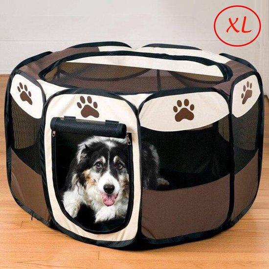 JDBOS ® Opvouwbare bench voor honden XL - ⌀ 90 cm - H 60 cm - reisbench hond, puppytent bruin/wit