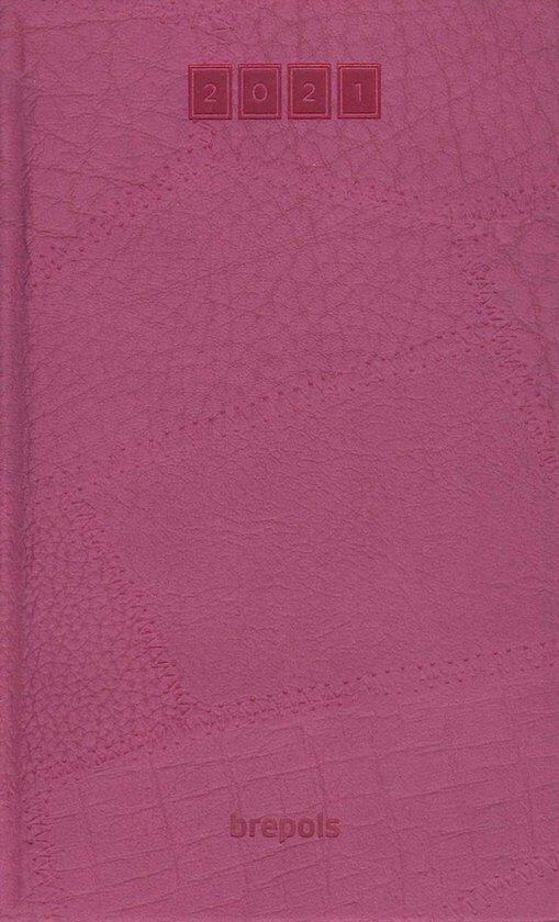 Brepols agenda 2021 - LUCCA - Breform - Fuchsia - Leatherlook - 1d/1p - 6talig - 10 x 16,5 cm