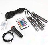 Auto LED RGB interieur strip 4 stuks zelfklevende