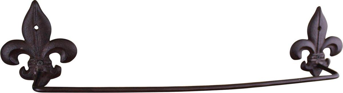 Rustgevende Design Handdoekhouder - Gietijzeren rustiek handdoekrek, Fleur de Lis - Wandmontage Handdoekhouder - Afmetingen: 8 x 12 x 55 cm