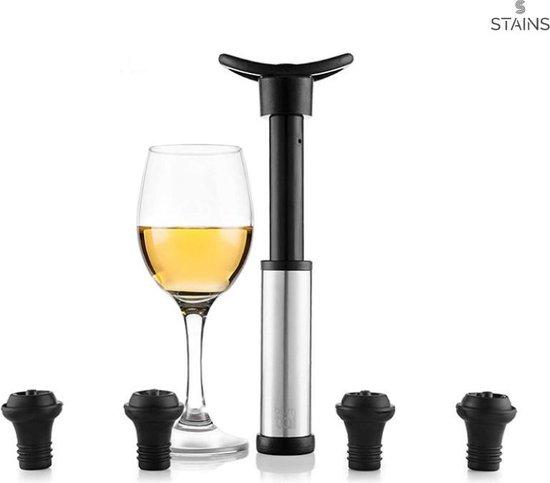 Vacuüm pomp | Wine Saver| Wijn Stopper| Vacuum pomp met 4 GRATIS Stoppers | Stoppers | Wijnkurk | Wijn dop | Wijn pomp | Fles wijn - STAINS