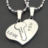 I Love You Ketting set | Hartje | Sleutel | Liefdes Cadeau | Romantisch Cadeau | Koppel Cadeau | Relatie Cadeau | Kettingen