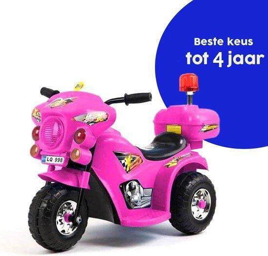 Afbeelding van Elektrische kinder accu Politiemotor 6v roze voor kinderen speelgoed