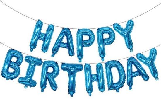 Folie-ballonnen 16 INCH / 40 CM met letters 'HAPPY BIRTHDAY' BLAUW (31264)