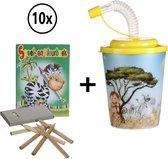 10 Uitdeelcadeautjes voor Kinderen - Uitdeelboekjes - Traktatie voor Verjaardag - 3D-beker Jungle Dieren met Kleurboekje en Potloden