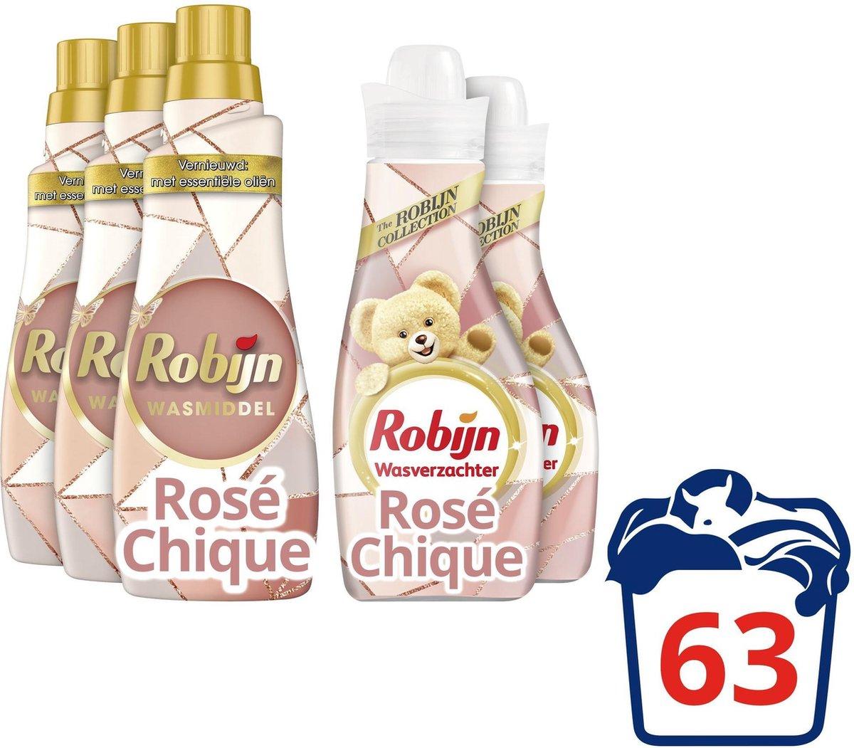 Robijn Rose Chique Wasmiddel en Wasverzachter - 60 wasbeurten - Voordeelverpakking