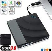 Easylife® Externe CD/DVD Speler en Brander incl. Beschermhoes en USB-C adapter - Nieuwste Generatie - Plug & Play - USB 3.0 - Hoge snelheden tot 5 Gbps - Optische drive DVD en CD - Touch-control - Foutcorrectie - Geluidsreductie