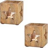 2x stuks houten windlichtjes / theelichthouders met sterren 9 cm - Kerstdecoratie waxinelicht houders