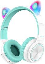 Lovnix Lucky Cat - Draadloze Bluetooth Kinderkoptelefoon - Over-Ear Koptelefoon voor Kinderen - Met Led Kat Oortjes - Wit/Groen