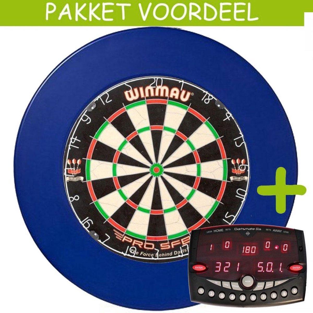 Elektronisch Dart Scorebord VoordeelPakket (Elite ) - Pro SFB - Rubberen Surround (Blauw)