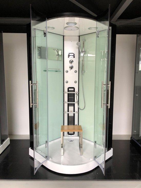 Sivina Rustica Infrarood Stoomcabine Spa 1 persoons Black White 100x100x215 cm Sauna met mengkraan regendouche massagejets LED-verlichting Bluetooth