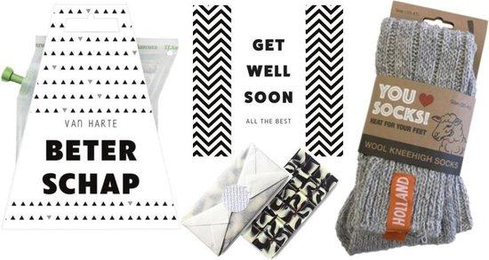 Beterschap cadeau - get well soon - chocolade - thee - geitenwollen sokken - beterschap kadootjes - brievenbus cadeau - chocolade geschenkset
