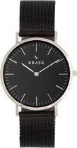 KRAEK Meena Zilver Zwart 36 mm - Dames Horloge - Zwart Mesh horlogebandje - Inclusief Pushpin
