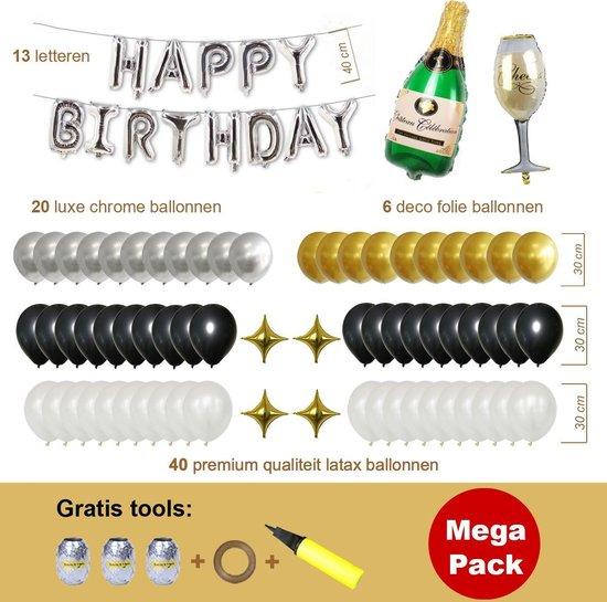Ballonnen Pakket 84 delig Premium Kwaliteit Zwart Zilver, Folie, Latex , Megapack, Verjaardag, Happy Birthday, Feest, Party, Set, Decoratie, Versiering, Miracle Shop