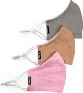 Reeva mondkapjes - mondmasker - set van 3 (roze, grijs, beige)