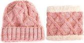 Set gebreide muts sjaal kind meisje 1&2 jaar | roze colsjaal en muts met fleece voering - kindermuts - kindersjaal