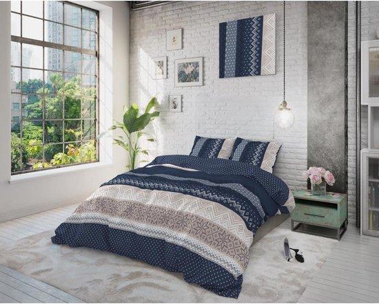 Sleeptime Elisabeth Dekbedovertrek - Eenpersoons - 140x200/220 + 1 kussensloop 60x70 - Donker Blauw