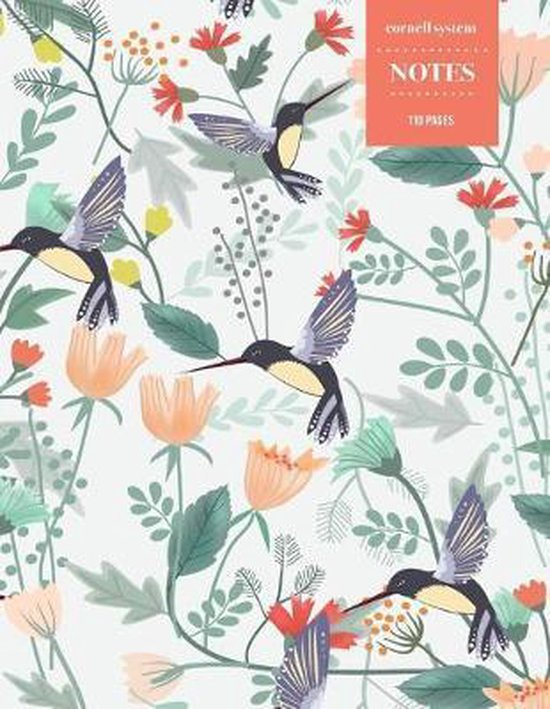 Cornell System Notes 110 Pages: Vintage Floral Notebook for Professionals and Students, Teachers and Writers - Hummingbird Floral Pattern