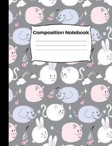 Composition Notebook: Wide Ruled School Home Office Teacher Student 100 Pages - Unique Cute Kawaii Kitty Cat Pig Elephant and Rabbit Pattern