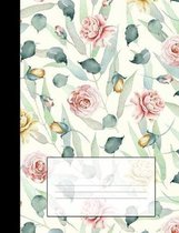 Vintage Floral Notebook: Red & Yellow Roses College Ruled Composition