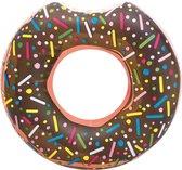 Opblaasbaar XXL Donut Zwemband 100 x 100 CM - Water Speelgoed Eten Bruin - Voor kinderen of Volwassenen Groot