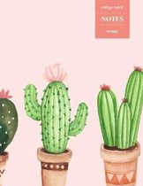 College Ruled Notes 110 Pages: Cactus Floral Notebook for Professionals and Students, Teachers and Writers - Watercolor Cactus Pattern with Pink Back