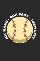 baseball hit hard run fast turn left: 6x9 Baseball - dotgrid - dot grid paper - notebook - notes