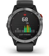 Garmin Fenix 6 Solar - Multisport horloge - 47 mm - Zilver/zwart