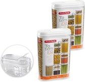 2x stuks plastic strooier/voorraad bussen container - 1,5 liter - 8 x 15,5 x 23 cm - Transparant - Voedsel bewaar bussen containers - Voorraadbussen