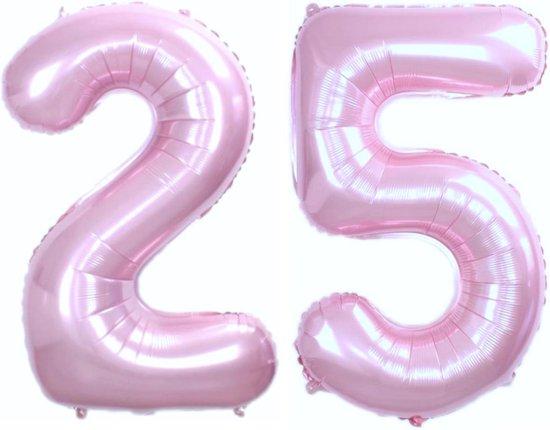 Folie Ballon Cijfer 25 Jaar Roze 36Cm Verjaardag Folieballon Met Rietje