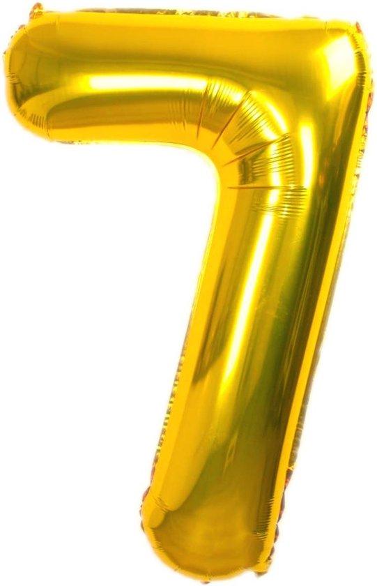 Folie Ballon Cijfer 7 Jaar Goud 36Cm Verjaardag Folieballon Met Rietje