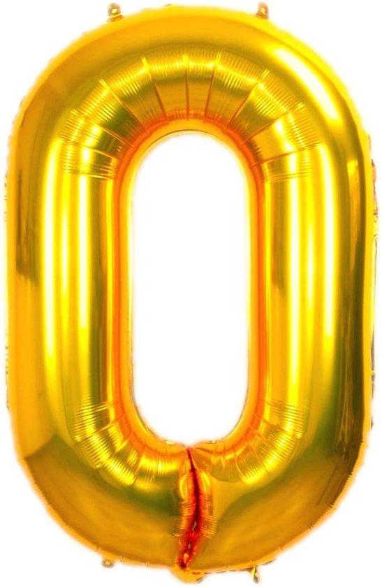 Folie Ballon Cijfer 0 Jaar Goud 36Cm Verjaardag Folieballon Met Rietje