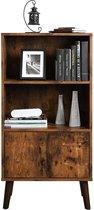 Vintage Kast - Boekenkast met Open en Gesloten compartiment - 60 cm Breed, 120 cm Hoog en 30 cm Diep - Vintage Bruin