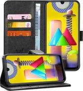 Samsung M31 Hoesje - Samsung Galaxy M31 Hoesje - Book Case Leer Wallet Zwart