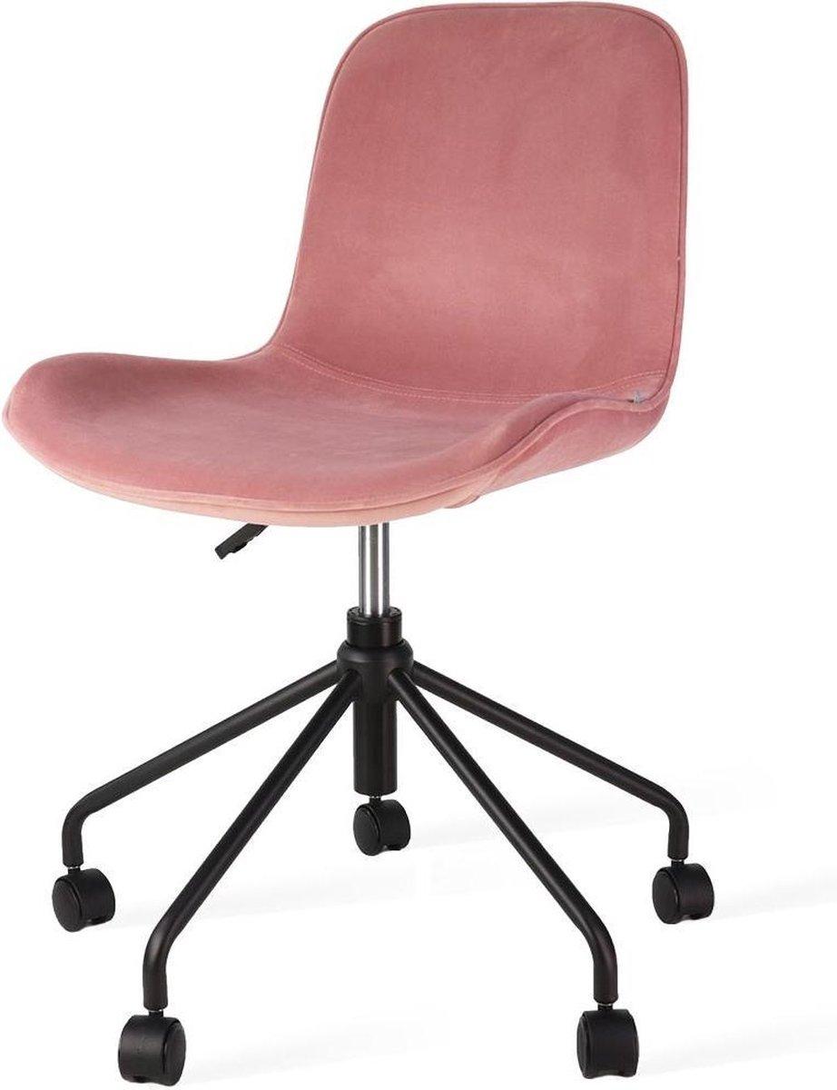 Nolon Nout bureaustoel zwart - Velvet zitting dusty pink