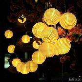BIZZ Light® LED lichtsnoer voor buiten - Werkt op zonne-energie - 6,5 m 30 LEDs lampionnen - IP65 waterdicht - Tuinverlichting op zonneenergie - Led buiten verlichting met dag/nacht sensor