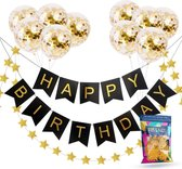 Fissaly® Verjaardag Slinger Zwart & Goud met Confetti Ballonnen – Decoratie – Happy Birthday